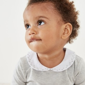 The White Company Sparkle Collar Embroidery Bodysuit, Grey, 0-3mths