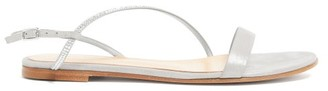 Gianvito Rossi Crystal-strap Metallic-suede Sandals - Womens - Silver