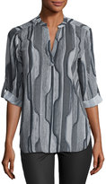 Joan Vass 3/4-Sleeve Graphic-Print Blouse, Black/Gray