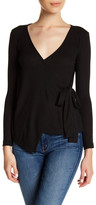 Bobeau Ribbed Wrap Long Sleeve Shirt (Petite)