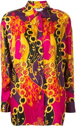 Céline Pre Owned Silk Chain Print Shirt