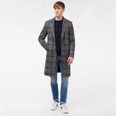 Paul Smith Men's Brown Wool-Alpaca Houndstooth-Check Overcoat