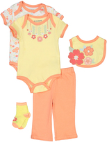 Buster Brown Double Cream & Desert Floral Five-Piece Layette Set - Infant