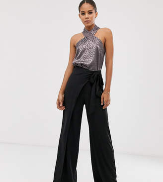 Outrageous Fortune Tall split leg wrap trouser in black-Brown