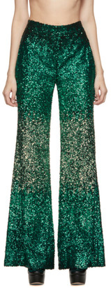 Halpern SSENSE Exlusive Green Sequin Stovepipe Trousers