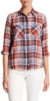 Melrose and Market Frayed Hem Plaid Shirt (Petite)