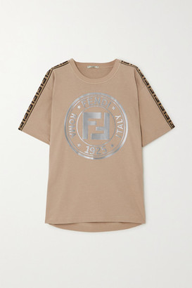 Fendi Fendirama Jacquard-trimmed Printed Cotton-jersey T-shirt - Beige