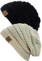 B01591TH4E Unisex Trendy Warm Chunky Soft Stretch Cable Knit Slouchy Beanie Skully (Gift Set- Black & Beige)
