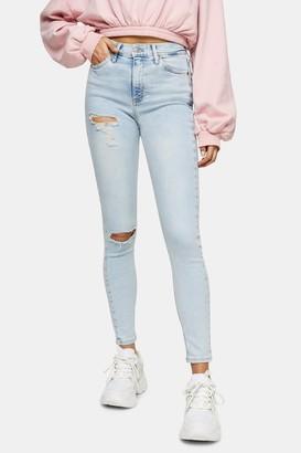 Topshop Womens Bleach Ripped Jamie Skinny Jeans - Bleach Stone