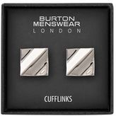 Burton Mens Silver Square Cufflinks