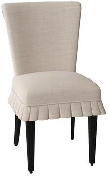 Sloane Whitney Coventry Upholstered Parsons Chair Body Fabric: Angela Cream, Leg Color: Black Matte