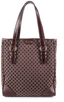 Celine Dark Brown Printed Leather Trim Medium Tote Handbag MHL