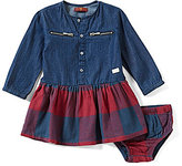 7 For All Mankind Baby Girls 12-24 Months Long-Sleeve Denim/Flannel Dress