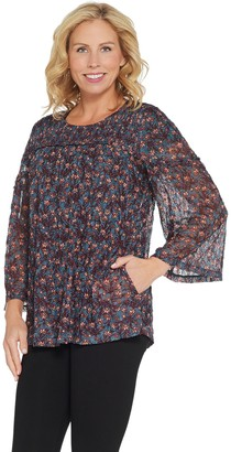 Logo by Lori Goldstein Printed Lace Top with Smocking Detail