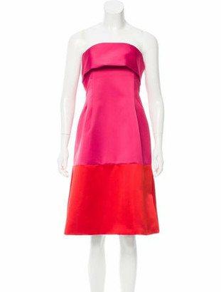 Thakoon Satin Colorblock Dress Magenta