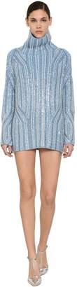 Ermanno Scervino Embellished Wool Knit Mini Dress