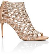 Casadei 80mm Pearl & Crystal Net Sandal T980