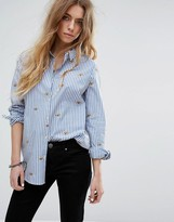 Maison Scotch Long Sleeve Button Up Shirt With Allover Embroideries