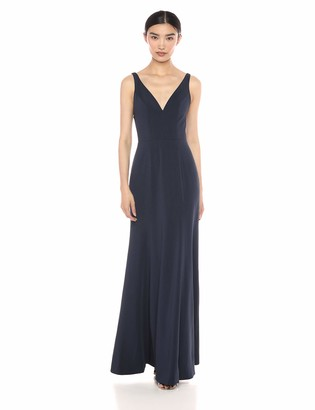 Jenny Yoo Women's Jade V Neck Long Crepe Gown