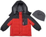 London Fog Red Geometric Puffer Coat & Beanie - Infant Toddler & Boys