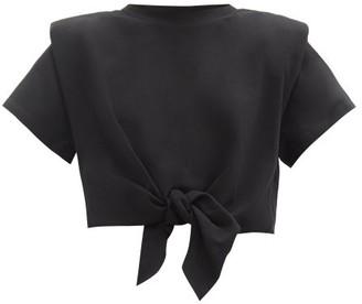 Isabel Marant Belita Padded-shoulder Knotted Cotton T-shirt - Black