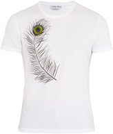 Alexander McQueen Peacock-feather embroidered cotton T-shirt