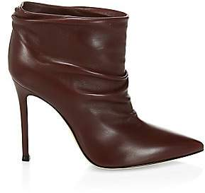Gianvito Rossi Women's Cyril Ruched Leather Ankle Boots