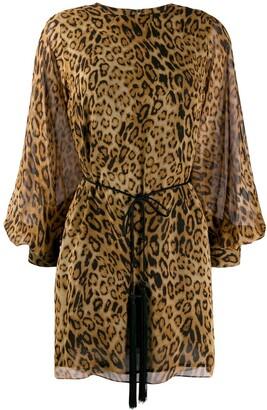 Nili Lotan belted leopard print dress
