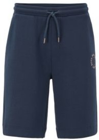 HUGO BOSS Relaxed Fit Shorts With Layered Metallic Logo - Natural