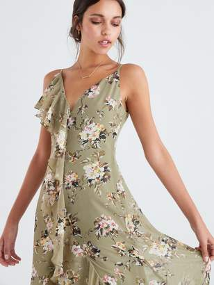 Forever Unique U Collection Floral Frill Maxi Dress - Green