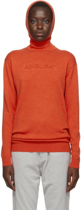 Ambush Orange Knit Embossed Turtleneck