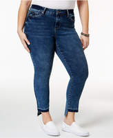 Rampage Trendy Plus Size Sophie Central Wash High-Low Jeans