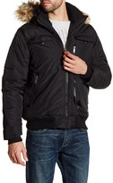 Ben Sherman Detachable Faux Fur Trim Hooded Bomber Jacket