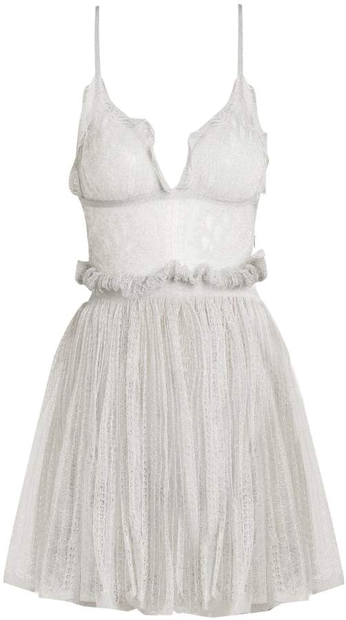 Alexander McQueen Sleeveless plunging lace mini dress