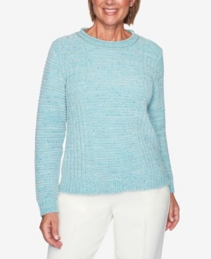 Alfred Dunner Women's Plus Size St. Moritz Fleck Chenille Solid Sweater