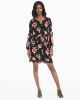 White House Black Market Long-Sleeve Lace Inset Floral Print Dress