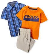 DKNY Toddler Boys) 3-Piece Check Shirt & Khaki Woven Jogger Pants Set