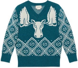 Gucci Children's GG moose wool jacquard jumper
