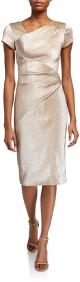 Theia Stretch Metallic Cap-Sleeve Asymmetrical Draped Sheath Dress
