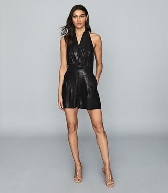 Reiss Essie - Shimmer Halterneck Playsuit in Black