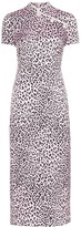 Alessandra Rich Fitted cheetah print silk cheongsam dress