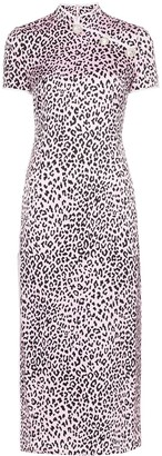 Alessandra Rich Fitted cheetah print silk cheongsam dress
