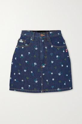 Marc Jacobs Floral-print Denim Mini Skirt - Dark denim