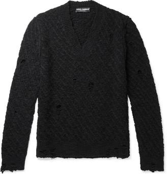 Dolce & Gabbana Slim-Fit Distressed Virgin Wool-Blend Sweater