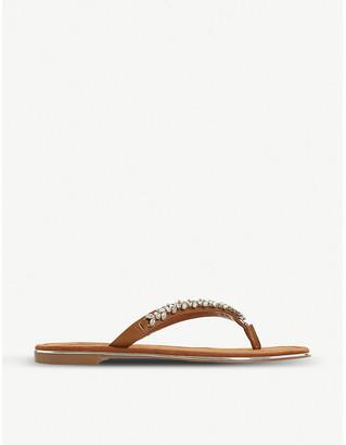 Dune Newbey embellished leather flip-flops
