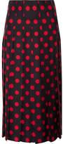 Gucci Pleated Polka-dot Silk-satin Twill Midi Skirt - Black