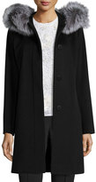 Fleurette Hooded Wool Fur-Trim Coat, Black