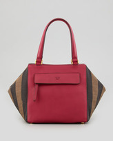 Fendi Pequin Small Striped Satchel Bag, Red