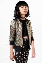 Boohoo Girls Metallic Quilted Bomber Jacket gold