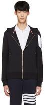 Moncler Gamme Bleu Navy Contrast Sleeve Zip Hoodie